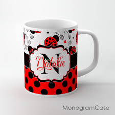 red ladubugs and black polka dots design tea cup monogramcase