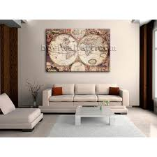 extra large wall art print on canvas world map retro global atlas