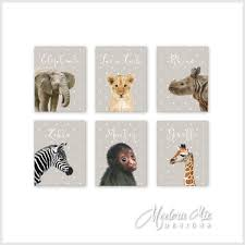 Giraffe Baby Decorations Nursery by Zoo Animals Canvas Nursery Decor Wall Art Safari Animals