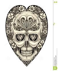 art skull heart tattoo stock illustration image 80057105