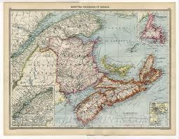 Map Of Nova Scotia 1905 Map Canada Newfoundland Nova Scotia Cape Breton Maritime