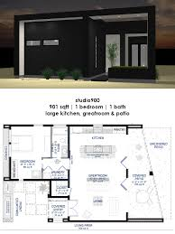 studio900 small modern house plan with courtyard front