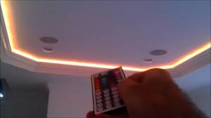 flexible 5050 rgb led ribbon light strips behind crown molding by