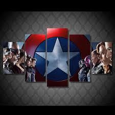 Captain America Decor Captain America Movie Superhero Framed 5pc Oil Painting Wall Decor