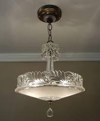 Rewire Light Fixture Antique Chandelier 1930 Vintage Deco Nouveau Fleur De Lis Glass