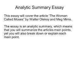 Essay Summary Example Sample Summary Analysis Essay