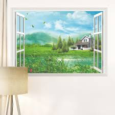 home decor art vinyl fake window new mural wall decals removable