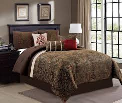 Rust Comforter Set 7 Piece Chenille Damask Brown Gold Rust Red Beige Paisley