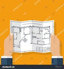 architect holding hand blueprint house construction stock vector