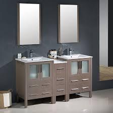fresca torino double 60 inch modern bathroom vanity gray oak