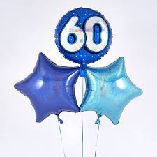 birthday balloon bouquet blue 60th birthday balloon bouquet inflated free delivery