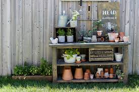 Garden Potting Bench Potting Bench And A Garden Sign