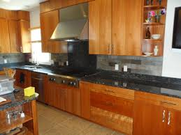 kitchen style stone tile backsplash for black granite countertops
