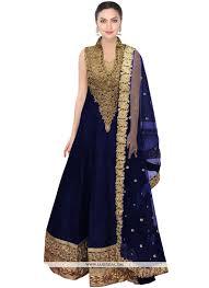 buy embroidered work navy blue net floor length anarkali replica embroidered work navy blue net floor length anarkali replica salwar suit