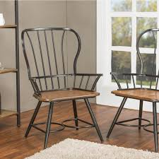 Dining Armchairs Baxton Studio Elfrida Black Metal Dining Armchairs Set Of 2 2pc