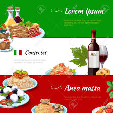 cuisine et tradition food horizontal banners set cuisine and pasta italy