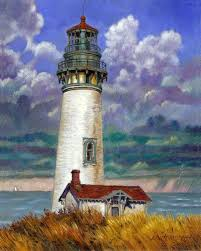 abandoned lighthouse paintings by john lautermilch
