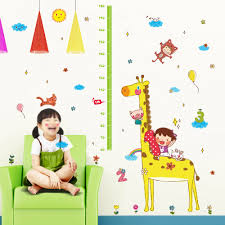 Reusable Wallpaper by Cute Height Chart Wall Sticker Removable Lovely Animals U0026