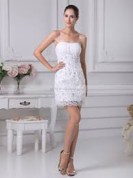 Mitzie Beaded Applique Featured Sheath Mini Wedding Dress With