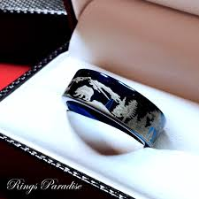 the bears wedding band and fox mountains forest landscape blue tungsten wedding
