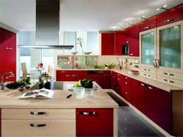 modular kitchen design with red cabinet and ceiling lamps 6362