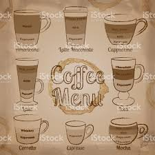 set of brown hand drawn types coffee cups and drinks stock vector