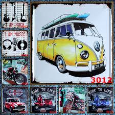 volkswagen bus art premium popular famous brand vw car antique retro metal tin signs