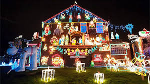 christmas lights on house festive family decorate house with 150 snow machine and size
