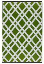 Recycled Plastic Rug Fab Rugs Lucky Green White Striped Indoor Outdoor Rug 5 X 8 Ebay