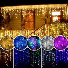 Hanging Light Decorations 96 1000 Led Christmas String Fairy Icicle Snow Curtain Hanging