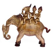 Elephant Statue Ganesha With Riddhi Siddhi Riding On Elephant Statue In Brass