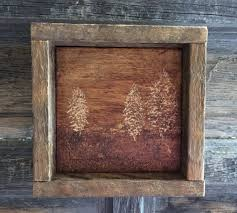 rustic home decor engraved wood primitive wall trees