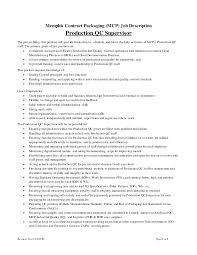 Supervisor Job Description Resume by Production Supervisor Job Description Production Qc Supervisor