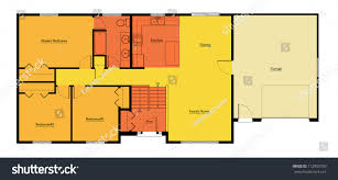 Split Level Bedroom by Split Level House Floor Plan Colored Stock Illustration 112905760