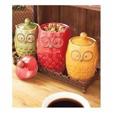 owl canisters for the kitchen owl canister ebay