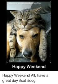 Happy Weekend Meme - nnypics happy weekend happy weekend all have a great day cat dog