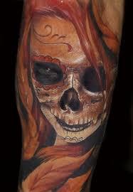 half sugar skull and half skull design ink the