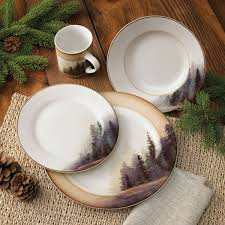 rustic wildlife dinnerware sets with moose designs no