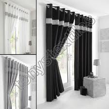 Curtains Ring Top Fully Lined Pair Eyelet Diamante Ring Top Ready Made Curtains