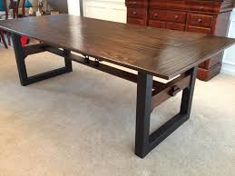 dining room industrial dining table with dark wood drawers and