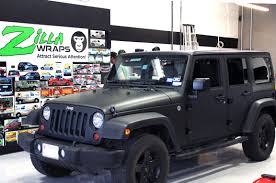 grey jeep rubicon matte black wrap jeep wrangler zilla wraps