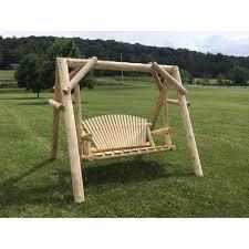 5 Ft Patio Swing With Cedar Pergola Create by White Cedar Log Furniture Barn Usa
