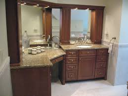 bathroom vanity cabinets with makeup accent tile runs at chair
