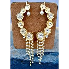 gold ear cuffs floral gold ear cuff earrings with pearl string