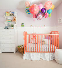 bedroom cheap cribs in orange plus white skirt and dresser for