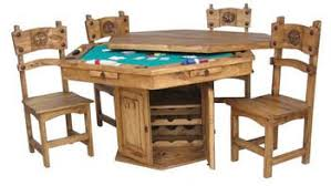 poker game table set amazon com rustic solid wood hidden game table set poker table