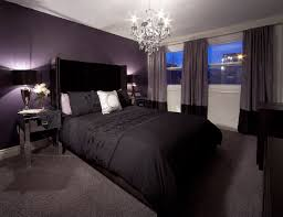 Grey And Purple Bedroom by Bedroom With Purple Feature Wall And Drapery Crystal Chandelier