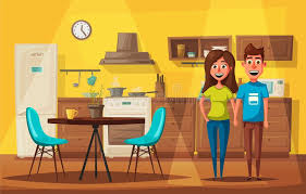 cuisine dessin animé intérieur de cuisine avec des meubles illustration de vecteur de