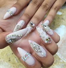 prom nails long stiletto matte with gems nailss pinterest