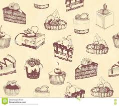 sketches of cupcakes berry pie and chocolate tiered cake stock